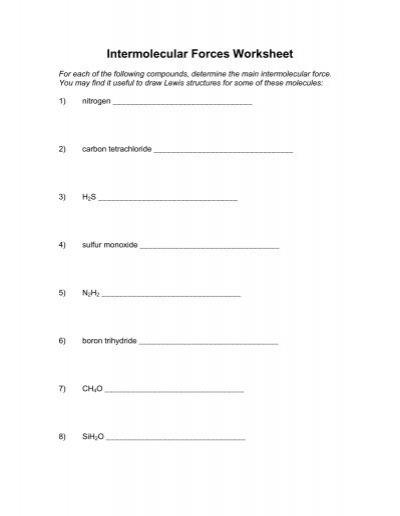 Intermolecular Forces Worksheet 2