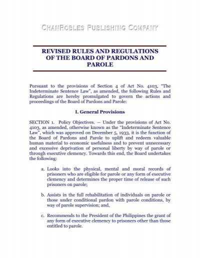 revised rules and regulations of the board of pardons and parole