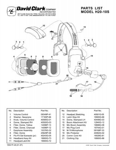 parts list model h10 76 david clark company incorporated view parts list schematic david clark company incorporated