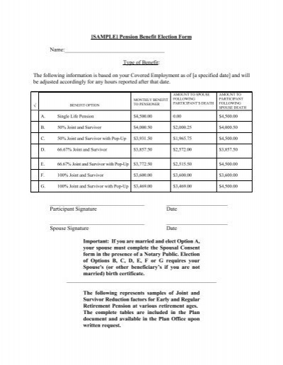 sample  pension benefit election form name type of