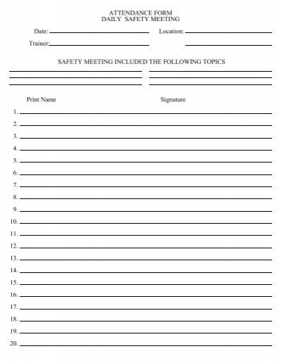 Tailgate meeting template 28 images sle tailgate safety tailgate meeting template attendance form daily pronofoot35fo Choice Image