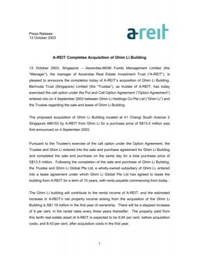 A Reit Completes Acquisition Of Ghim Li Building Ascendas Reit
