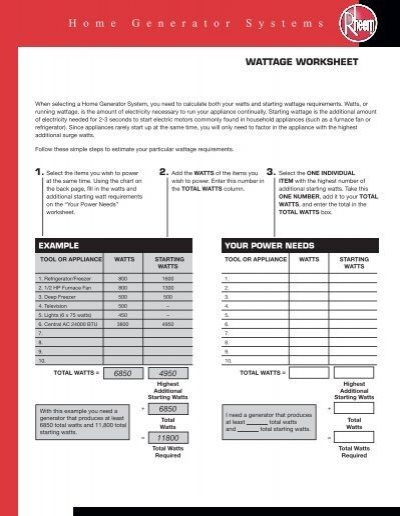 Generator Wattage Worksheet : Wattage worksheet rheem