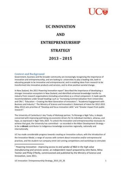 UC Innovation and Entrepreneurship Strategy 2013-2015 (PDF