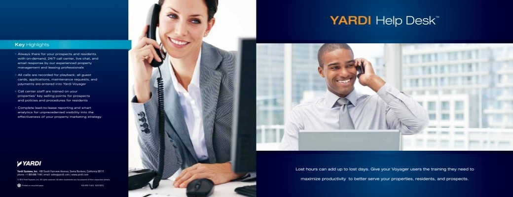 YARDI Help Desk™ - Investment, Asset & Property Management