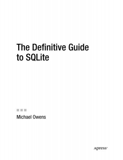 Pdf edition to 2nd 2010 sqlite the definitive guide