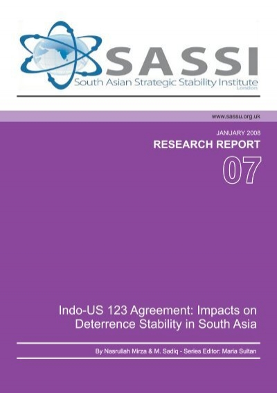 Indo Us 123 Agreement Impacts On Deterrence Stability In South Asia