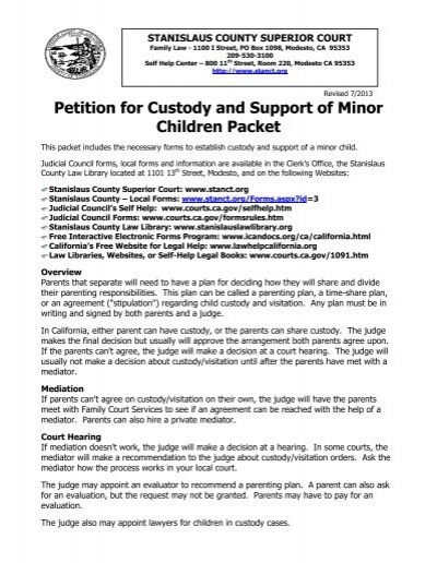 How do you write a petition for custody?