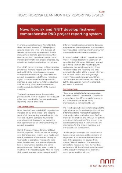 novo nordisk lean monthly reporting system nnit