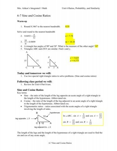 6 7 Sine And Cosine Ratio Notes