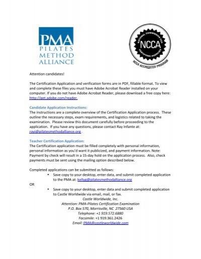 Certification Application - Pilates Method Alliance