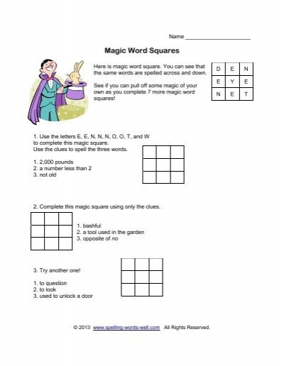Magic Word Squares - Spelling Words Well