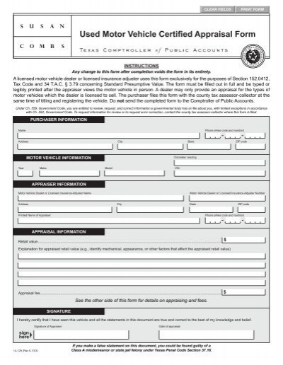 14-128 Used Motor Vehicle Certified Appraisal Form - Texas .