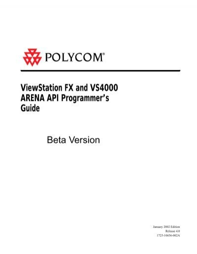 polycom viewstation fx and vs4000 arena api guide things a v rh yumpu com Polycom Remote Polycom Cause Code 16