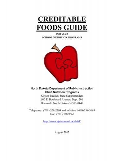 Creditable Foods Guide North Dakota Department Of Public Instruction
