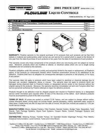 Flowline LZ10-1403 Tuning Fork Sensor