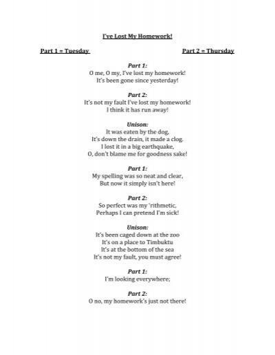 Ive Lost My Homework Lyric Sheet
