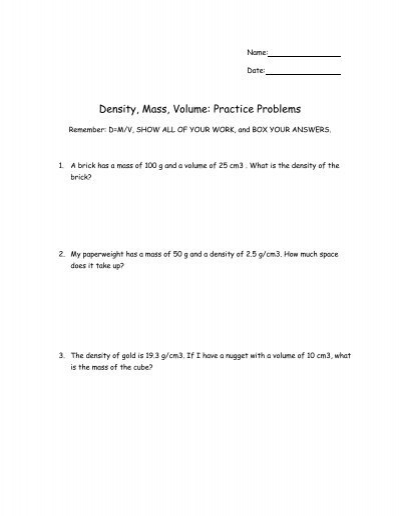 Density Mass Volume Practice Problems Nichols School
