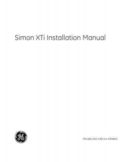 ge simon xti installation manual home technology store rh yumpu com Installation Guide simon 2 installation manual