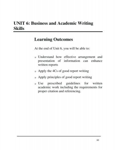 unit business and academic writing skills learning outcomes