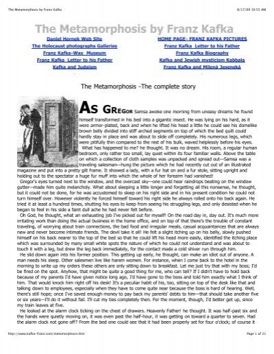 an analysis of the character of gregor samsa in the novel the metamorphosis by franz kafka Character analysis of gregor samsa in the metamorphosis, a novel by franz kafka pages 4 words 1,278 view full essay more essays like this.