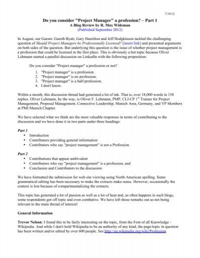 Do you consider project manager a profession part 1 fandeluxe Gallery
