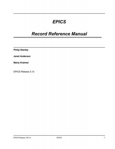 epics record reference manual sns control systems rh yumpu com Samsung Epic 4G Owner's Manual epics record reference manual