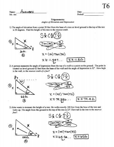 Trigonometry - Angle of Elevation & Depression - T6 - Answers.pdf