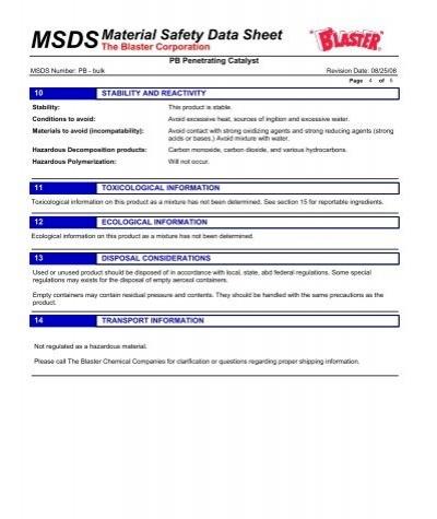 MSDS PDF PB BLASTER
