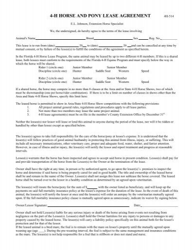 H Horse And Pony Lease Agreement  Alachua County Extension