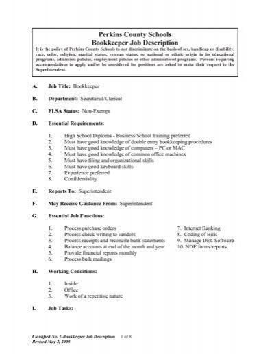 C1 Bookkeeper - Job Description - Perkins County Schools