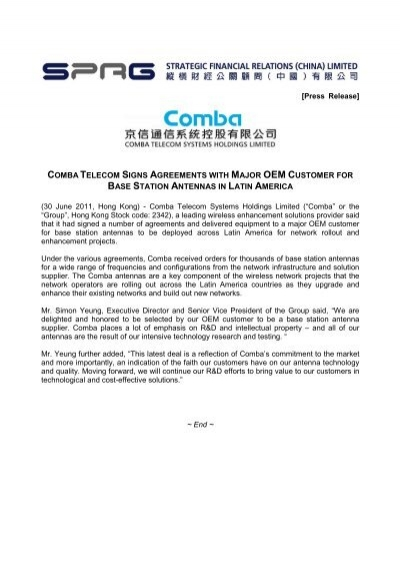 Comba Telecom Signs Agreements With Major Oem Customer