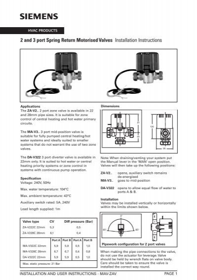 Siemens Motorised Valve Wiring Diagram