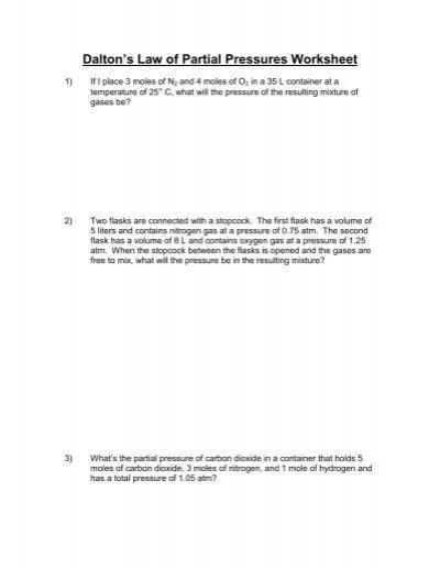 dalton 39 s law of partial pressures worksheet. Black Bedroom Furniture Sets. Home Design Ideas