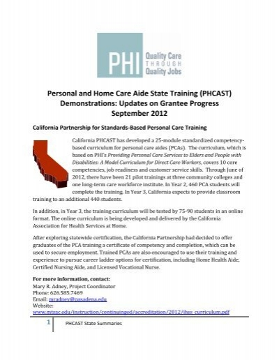 personal and home care aide state training (phcast ... - phi