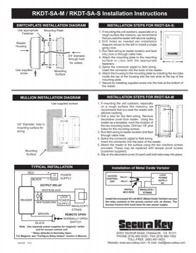 rkdt sa m rkdt sa s installation instructions secura key Un iMac Washer Wiring Diagram
