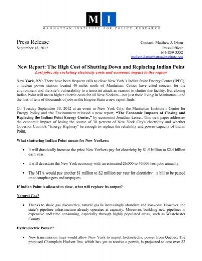Press Release - Manhattan Institute