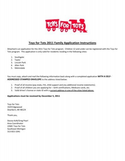 Toys For Tots Registration : Toys for tots family application instructions city