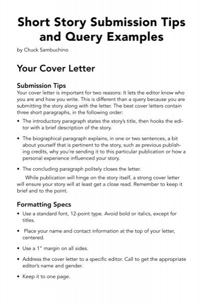 Short Story Submission Tips And Query Examples   Writeru0027s Digest