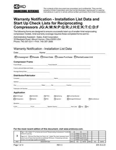 ER-10 4 01 Warranty Notification - Installation     - Ariel