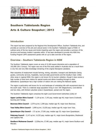 Southern Tablelands Region Arts & Culture Snapshot