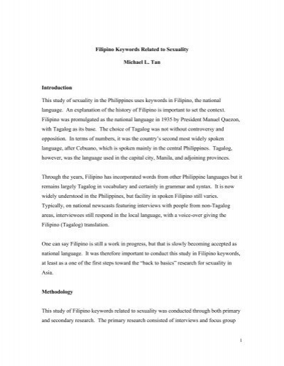 Filipino Keywords Related to Sexuality Michael