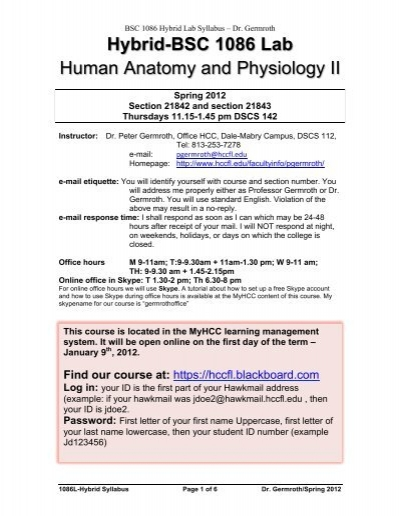 Hybrid Bsc 1086 Lab Human Anatomy And Physiology Ii