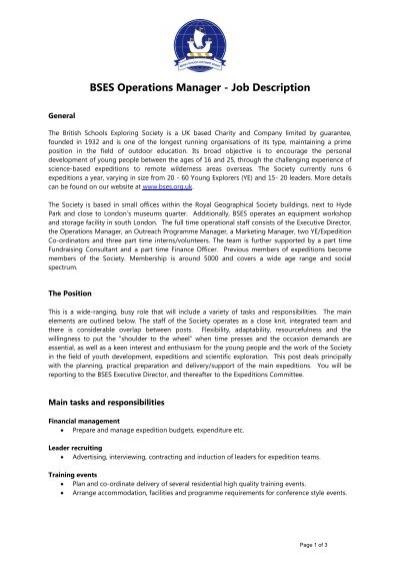 Bses Operations Manager  Job Description  Sail Training