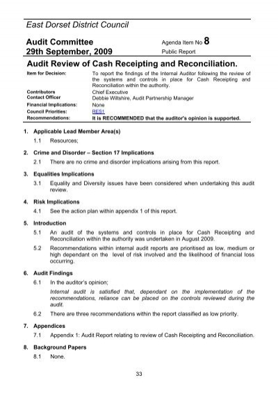 audit review of cash receipting and reconciliation