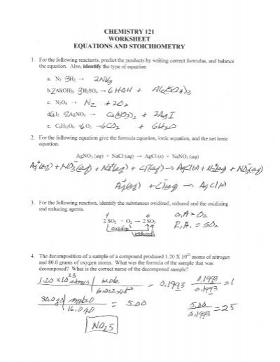 CHEMISTRY 121 WORKSHEET EQUATIONS AND STOICHIOMETRY