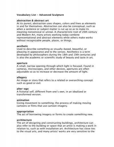 vocabulary list advanced sculpture abstraction abstract art at