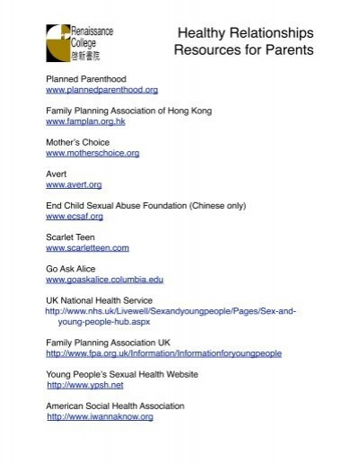 Sexual health resources for parents