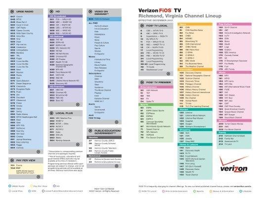 Richmond Virginia Channel Lineup Verizon