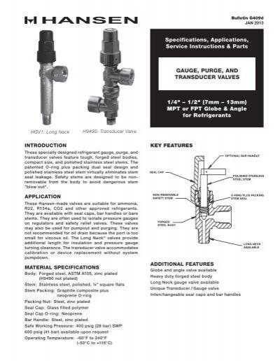 g409d gauge purge transducer valves hansen technologies rh yumpu com 3-Way Hansen Relief Valve Relief Valve 3-Way York